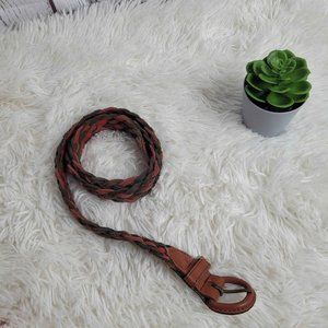 Vintage Braided Multicolor Leather Belt Size Small